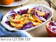 Купить «Persimmon with Radicchio and Pomegranate salad», фото № 27599133, снято 19 февраля 2018 г. (c) PantherMedia / Фотобанк Лори