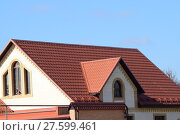 Купить «House with a roof made of metal sheets», фото № 27599461, снято 23 февраля 2019 г. (c) PantherMedia / Фотобанк Лори