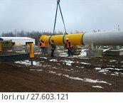 Купить «Sakhalin, Russia - 12 November 2014: Construction of the gas pipeline on  ground.», фото № 27603121, снято 16 июня 2019 г. (c) PantherMedia / Фотобанк Лори