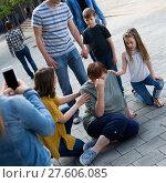 Купить «Relatives helping mature woman», фото № 27606085, снято 14 мая 2017 г. (c) Яков Филимонов / Фотобанк Лори