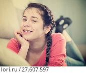 Купить «Girl posing playfully», фото № 27607597, снято 29 марта 2017 г. (c) Яков Филимонов / Фотобанк Лори