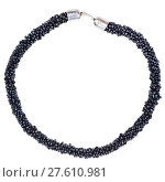 Купить «round necklace from string of black beads isolated», фото № 27610981, снято 19 января 2019 г. (c) PantherMedia / Фотобанк Лори