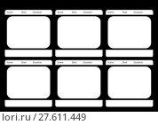 Купить «Traditional television 6 frame storyboard black», фото № 27611449, снято 17 июня 2019 г. (c) PantherMedia / Фотобанк Лори