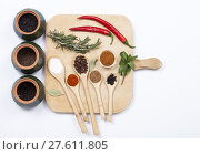 Купить «Colorful spices and spoons on cutting board», фото № 27611805, снято 20 сентября 2019 г. (c) PantherMedia / Фотобанк Лори