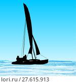 Купить «Sailing catamaran silhouette», иллюстрация № 27615913 (c) PantherMedia / Фотобанк Лори