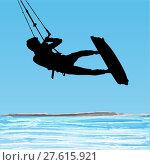 Купить «Kiteboarder aerial jump silhouette», иллюстрация № 27615921 (c) PantherMedia / Фотобанк Лори