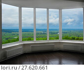 Купить «modern window of veranda with thundercloud landscape», фото № 27620661, снято 15 октября 2019 г. (c) PantherMedia / Фотобанк Лори