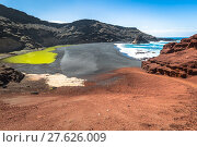 Купить «green lagoon at el golfo,lanzarote,canary islands», фото № 27626009, снято 22 апреля 2019 г. (c) PantherMedia / Фотобанк Лори
