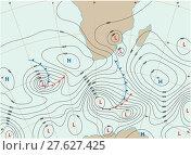 Купить «imaginary weather map showing isobars and weather fronts», иллюстрация № 27627425 (c) PantherMedia / Фотобанк Лори