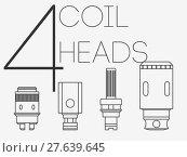 Купить «4 thin lines coil heads set», фото № 27639645, снято 17 января 2019 г. (c) PantherMedia / Фотобанк Лори