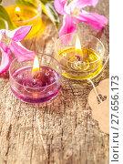 Купить «Spring symbol with candles on wood», фото № 27656173, снято 19 сентября 2019 г. (c) PantherMedia / Фотобанк Лори