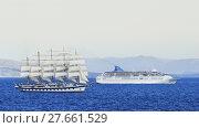 Купить «windjammer with five masts in the mediterranean sea», фото № 27661529, снято 22 января 2019 г. (c) PantherMedia / Фотобанк Лори