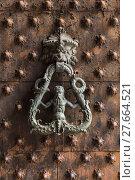 Купить «Ancient wooden spiked door detail i», фото № 27664521, снято 26 апреля 2018 г. (c) PantherMedia / Фотобанк Лори