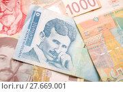 Купить «Nikola Tesla 100 dinar bill», фото № 27669001, снято 19 декабря 2018 г. (c) PantherMedia / Фотобанк Лори