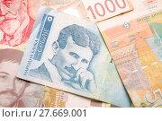 Купить «Nikola Tesla 100 dinar bill», фото № 27669001, снято 27 апреля 2018 г. (c) PantherMedia / Фотобанк Лори