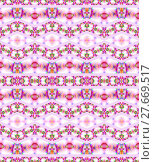 Купить «Abstract geometric seamless background. Ornate and dreamy zigzag pattern in pink and violet shades with purple, orange and green elements on white.», фото № 27669517, снято 19 октября 2018 г. (c) PantherMedia / Фотобанк Лори