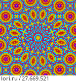 Купить «Abstract geometric seamless background. Colorful concentric ornament with elements in bright yellow and red with outlines in turquoise blue. Ornate and conspicuous circle pattern.», фото № 27669521, снято 20 июля 2018 г. (c) PantherMedia / Фотобанк Лори