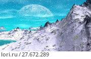 Купить «Alien Planet. Mountain and  water. Animation. Panorama. 4K», видеоролик № 27672289, снято 10 февраля 2018 г. (c) Parmenov Pavel / Фотобанк Лори