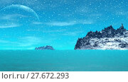 Купить «Alien Planet. Mountain and  water. Animation. Panorama. 4K», видеоролик № 27672293, снято 10 февраля 2018 г. (c) Parmenov Pavel / Фотобанк Лори