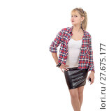 Купить «beautiful young woman clothed in a leather skirt and shirt», фото № 27675177, снято 17 августа 2018 г. (c) PantherMedia / Фотобанк Лори