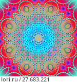 Купить «Abstract geometric seamless background. Ornate concentric circle ornament multicolored with various ellipses and floral elements, conspicuous and dreamy.», фото № 27683221, снято 21 января 2019 г. (c) PantherMedia / Фотобанк Лори