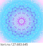 Купить «Abstract geometric seamless background. Concentric circle ornament with elements in pink, violet, purple and turquoise blue shades.», фото № 27683645, снято 21 октября 2018 г. (c) PantherMedia / Фотобанк Лори