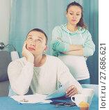 Купить «Couple struggling to pay bills», фото № 27686621, снято 18 марта 2017 г. (c) Яков Филимонов / Фотобанк Лори