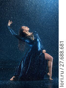 Купить «The young beautiful modern dancer dancing under water drops», фото № 27688681, снято 21 ноября 2018 г. (c) PantherMedia / Фотобанк Лори