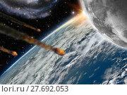 Купить «Asteroids flying over planet earth», фото № 27692053, снято 19 февраля 2018 г. (c) PantherMedia / Фотобанк Лори