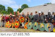 Купить «Viking market in Saltvik. It is considered one of major Viking markets in Scandinavia. Scandinavian Warriors», фото № 27693765, снято 25 июля 2013 г. (c) Валерия Попова / Фотобанк Лори