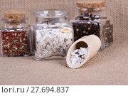 Купить «herbal salt in containers», фото № 27694837, снято 26 июня 2019 г. (c) PantherMedia / Фотобанк Лори