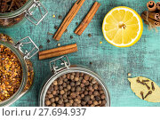 Купить «Spices and herbs. Food, cuisine ingredients, cinnamon, clove, anise, lemon», фото № 27694937, снято 26 июня 2019 г. (c) PantherMedia / Фотобанк Лори