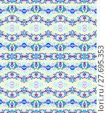 Купить «Abstract geometric seamless background. Ornate and dreamy zigzag pattern in purple, blue, violet and turquoise shades on light yellow.», фото № 27695353, снято 19 октября 2018 г. (c) PantherMedia / Фотобанк Лори