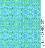 Купить «Abstract geometric seamless background. Ornate diamond and zigzag pattern light blue with mint green elements.», фото № 27695357, снято 24 января 2019 г. (c) PantherMedia / Фотобанк Лори