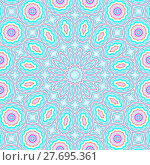 Купить «Abstract geometric seamless background. Concentric ornament with ellipses and circles in turquoise and light blue shades with elements in pink and yellow and violet outlines. », фото № 27695361, снято 21 октября 2018 г. (c) PantherMedia / Фотобанк Лори