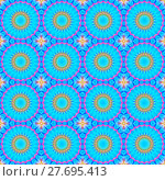 Купить «Abstract geometric seamless background. Regular concentric circles pattern in light blue shades with pink outlines and yellow elements.», фото № 27695413, снято 20 июля 2018 г. (c) PantherMedia / Фотобанк Лори
