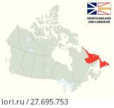 Купить «outline map of the Canadian province Newfoundland and Labrador with flag», иллюстрация № 27695753 (c) PantherMedia / Фотобанк Лори