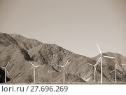 Купить «wind turbines in front of rough mountain ridges», фото № 27696269, снято 18 января 2019 г. (c) PantherMedia / Фотобанк Лори