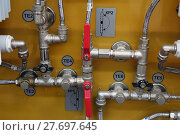 Купить «The main office of the heating system of the house», фото № 27697645, снято 23 января 2018 г. (c) Андрей Шалари / Фотобанк Лори