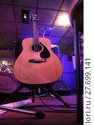 Купить «Guitar and microphone on a scene of night club», фото № 27699141, снято 22 апреля 2014 г. (c) Юрий Бизгаймер / Фотобанк Лори