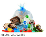 Купить «Recyclable garbage consisting of glass, plastic, metal and paper», фото № 27702589, снято 19 октября 2018 г. (c) PantherMedia / Фотобанк Лори