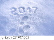 Купить «New Year 2017 greeting, footprints in snow, new year 2017, 2017 greeting card», фото № 27707305, снято 27 июня 2019 г. (c) PantherMedia / Фотобанк Лори
