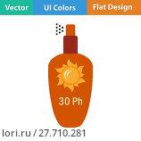 Купить «Flat design icon of sun protection spray», иллюстрация № 27710281 (c) PantherMedia / Фотобанк Лори