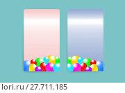 Купить «Pink and blue rectangles with the baloons design», фото № 27711185, снято 19 августа 2018 г. (c) PantherMedia / Фотобанк Лори