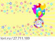 Купить «Let`s Party card with stars», фото № 27711189, снято 19 октября 2019 г. (c) PantherMedia / Фотобанк Лори