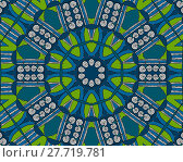 Купить «Abstract geometric seamless background. Concentric circle ornament with bright green elements, blue shades and white spiral pattern with black outlines, drawing.», фото № 27719781, снято 18 октября 2018 г. (c) PantherMedia / Фотобанк Лори