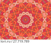 Купить «Abstract geometric seamless background, drawing. Concentric circle ornament in star shape with pink, violet, orange and red elements and green outlines, ornate and conspicuous.», фото № 27719789, снято 22 апреля 2018 г. (c) PantherMedia / Фотобанк Лори