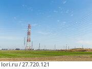Купить «High voltage lines and power pylons», фото № 27720121, снято 20 марта 2019 г. (c) PantherMedia / Фотобанк Лори
