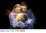 Купить «businesspeople with tablet pc and planets in space», фото № 27731669, снято 17 ноября 2012 г. (c) Syda Productions / Фотобанк Лори