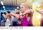 Купить «group of people with kettlebells exercising in gym», фото № 27731721, снято 19 февраля 2017 г. (c) Syda Productions / Фотобанк Лори